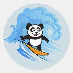 Round Sticker with Cute Surfing Panda design