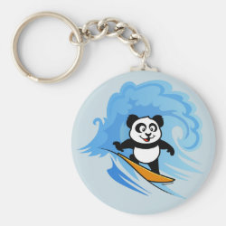 Basic Button Keychain with Cute Surfing Panda design