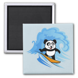 Cute Surfing Panda Square Magnet