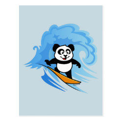 Cute Surfing Panda Postcard