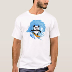 Cute Surfing Panda Men's Basic T-Shirt