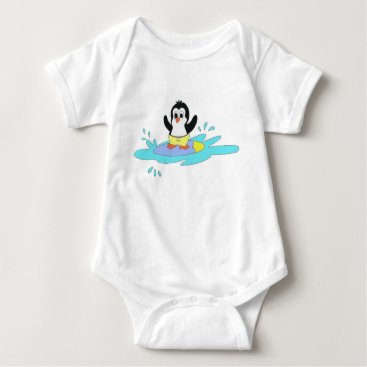 Beach Themed Surfing Penguin Baby Bodysuit