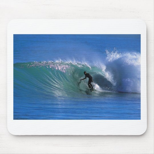 Surfing perfect green wave New Zealand Mouse Pad