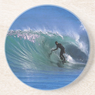 Surfing perfect green wave sandstone coaster