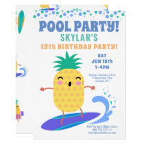 Surfing Pineapple Birthday Pool Party Kids Invitation