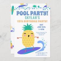 Surfing Pineapple Birthday Pool Party Kids Invitation