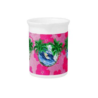 Surfing Pink Hibiscus Beverage Pitcher
