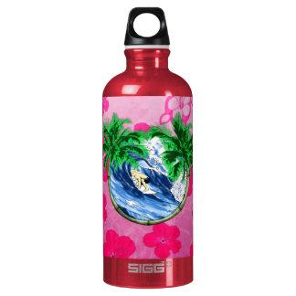 Surfing Pink Hibiscus Water Bottle