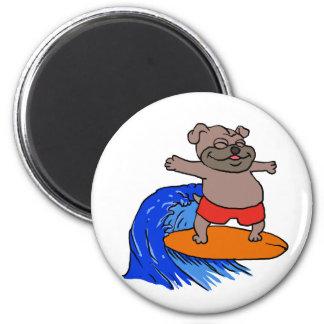 Surfing pug magnet