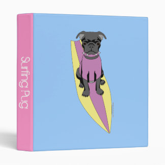 Surfing Pug (Pastel) Binder