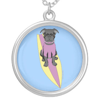 Surfing Pug (Pastel) Necklace