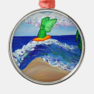 Surfing Raphael Angel Riding Healing Wave Ornament