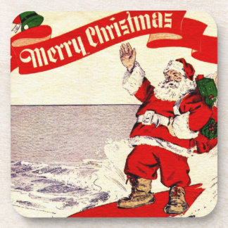 Surfing Retro Santa Coaster