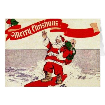 Christmas Themed Surfing Retro Santa Greeting Card