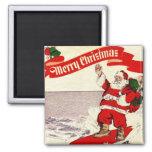 Surfing Retro Santa Magnet