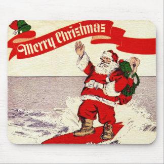 Surfing Retro Santa Mousepad