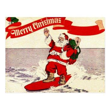 Christmas Themed Surfing Retro Santa Postcard