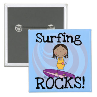 Surfing Rocks African American Girl Tshirts Pinback Buttons
