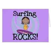 Surfing Rocks African American Girl Tshirts Card