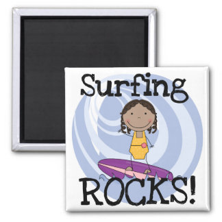 Surfing Rocks African American Girl Tshirts Fridge Magnets