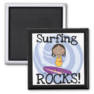 Surfing Rocks African American Girl Tshirts Fridge Magnet