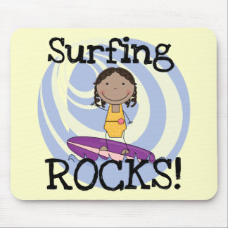 Surfing Rocks African American Girl Tshirts Mouse Pads