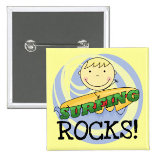 Surfing Rocks - Blond Boy Tshirts and Gifts Pinback Buttons