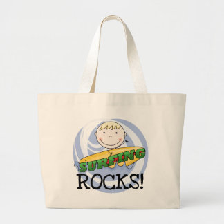 Surfing Rocks - Blond Boy Tshirts and Gifts Large Tote Bag