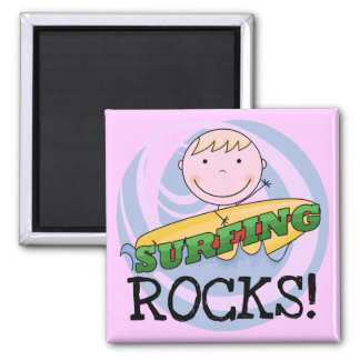 Surfing Rocks - Blond Boy Tshirts and Gifts Magnet