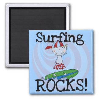 Surfing Rocks Boy in Baseball Cap Tshirts and Gift 2 Inch Square Magnet