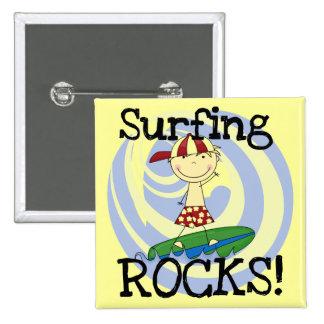 Surfing Rocks Boy in Baseball Cap Tshirts and Gift Pins