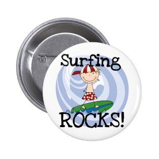 Surfing Rocks Boy in Baseball Cap Tshirts and Gift Pinback Buttons