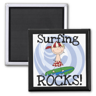 Surfing Rocks Boy in Baseball Cap Tshirts and Gift Magnet
