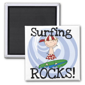 Surfing Rocks Boy in Baseball Cap Tshirts and Gift Fridge Magnet
