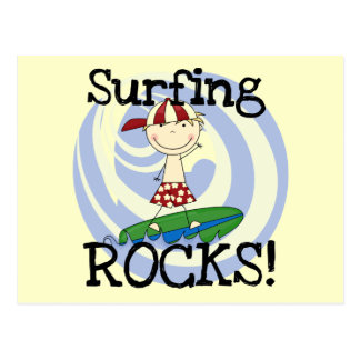 Surfing Rocks Boy in Baseball Cap Tshirts and Gift Postcard
