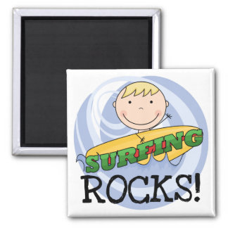 Surfing Rocks Tshirts and Gifts 2 Inch Square Magnet