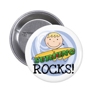 Surfing Rocks Tshirts and Gifts Button