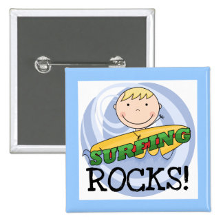 Surfing Rocks Tshirts and Gifts Pin
