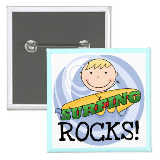 Surfing Rocks Tshirts and Gifts Pinback Buttons