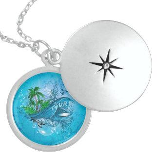 Surfing Round Locket Necklace