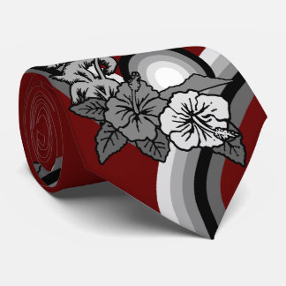 Surfing Safari Hawaiian Hibiscus Two-sidedPrinted Neck Tie