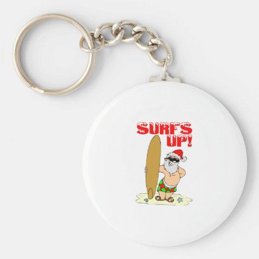 Surfing Santa Basic Round Button Keychain