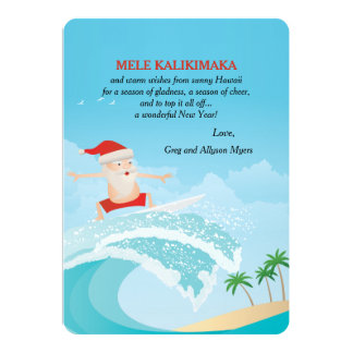 Surfing Santa Christmas Card