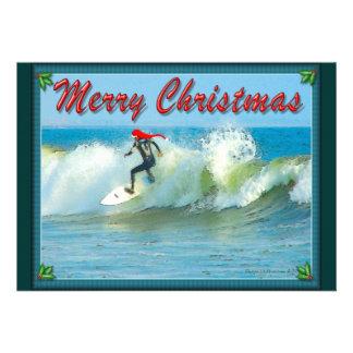 Surfing Santa Christmas Invitation