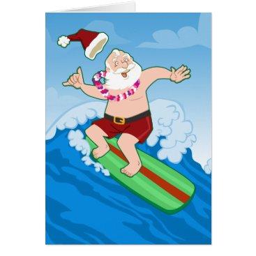 Christmas Themed Surfing Santa Funny Christmas Card