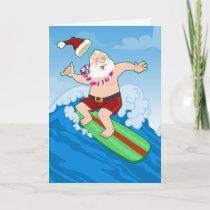 Surfing Santa Funny Christmas Holiday Card