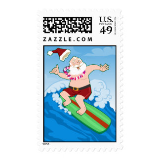 Surfing Santa Funny Christmas Postage