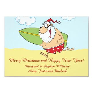 "Surfing Santa 5"" X 7"" Invitation Card"