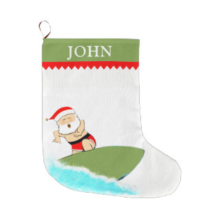 Surfing Santa Large Christmas Stocking