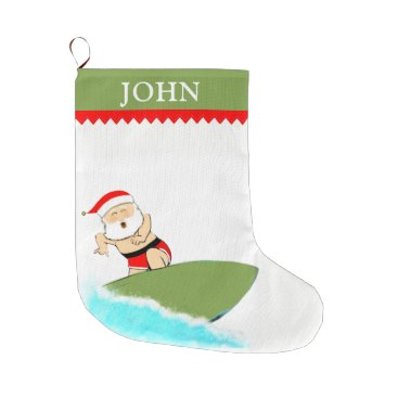 Beach Themed Surfing Santa Large Christmas Stocking